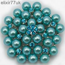 NEW SILVER BLUE PEARL FLOWER BROOCH DIAMANTE CRYSTAL WEDDING BRIDAL BROACH GIFT