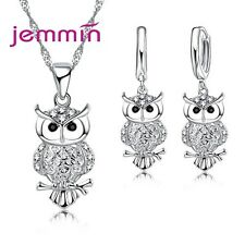 Gift Jewelry Sets For Women Girl Full Crystal Night Owl Design Necklace Earrings