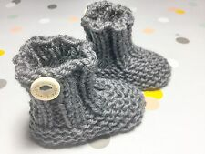Hand Knit Newborn 0000 Baby Girl Boy Unisex Brown Booties, Socks, Aust Wool
