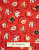 Mary Engelbreit Retro Tea Pots Cherry Cup Of Kindness Red Cotton Fabric YARD