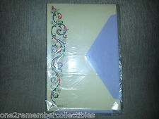 Hallmark 8 STATIONARY SHEETS & PURPLE ENVELOPES Vintage AMBROSIANA Floral ITALY