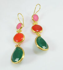 OttomanGems semi precious gemstone earrings gold Chalcedony Jade ethnic handmde