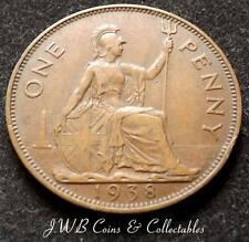 1938 George VI One Penny 1d Coin - Great Britain.