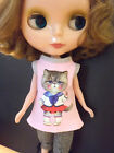 Blythe Doll Outfit Cloth Cat Print Pink Tee