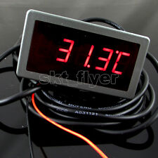 "0.56"" F/C 12V DC Red LED Digital Car Panel Temp Meter Thermometer DS18B20 Sensor"