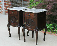 Antique French PAIR Dark Oak Marble Top Cabinets Lamp End Tables Nightstands