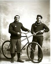 Two Italians With Antique Bicycle And Double Barrel Shotgun Ammunition Belt 1890