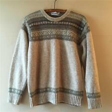 Vintage 1940s Style Mens Fair Isle Crew Neck Wool James Meade Sweater Jumper M
