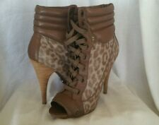Rachel Roy NEW 8.5 M Femmett Brown animal print Leather lace up Ankle Boots