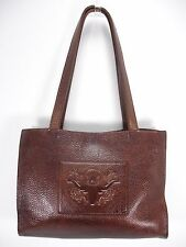 TWO BAR WEST BROWN PEBBLE TOOLED LONGHORN STAR LEATHER TOTE SHOULDER BAG PURSE
