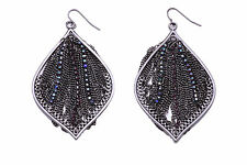 AMAZING GUNMETAL SPARKLY TASSELS DROP EARRINGS UNIQUE HOT GIFT (CL27)