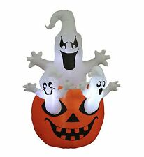 Halloween Inflatable Three Ghosts Pumpkin Yard Party Decoration Blowup LED Light