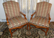 pair of Henredon Upholstery Collection accent arm chairs carved bergere style