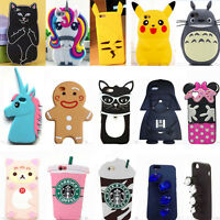 3D Animals Cartoon Soft Silicone Phone Case Cover Back Skin For iPhone Samsung