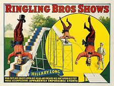 ADVERTISING CIRCUS RINGLING HILLARY LONG SKATE ACROBAT ART POSTER PRINT LV619