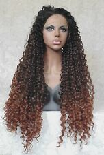 "5"" Lace Front XLong Curly Black/Brown Ombre ""FUTURA"" Heat Ok Synthetic Wig -WM17"