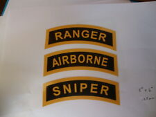 "RANGER. AIRBORNE.SNIPER STICKERS  EACH 5""x2"" USA BADGES  MILITARY UNITED STATES"