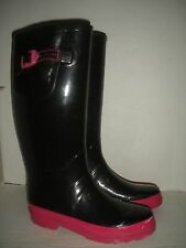 MARC JACOBS WOMEN'S BLACK W/ FUSCHIA TRIM RAIN BOOTS SZ 38 US 7.5 - 8