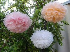 12x pink peach white tissue paper pom poms wedding party baby shower decorations