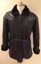 Rare VTG WILSONS LEATHER Long Jacket TRENCH Belted Faux Fur Black Men's Sz S