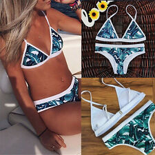 M Sexy Women Bikini Triangle Padded Bra Bandage Blue Leaf Swimsuit Swimwear Hot