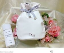 Dior Soft White synthetic Leather Round Bucket String Cosmetic Makeup Bag CD