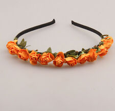 Boho Bride bridesmaid crown rose headband flower hair garland festival wedding