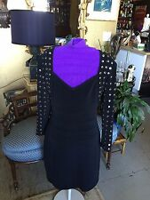 Tadashi Black Cocktail Dress with Silver accents and Cut-out Back Size L