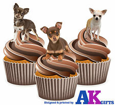 12 X Fun Cute Chihuahua Puppy Dogs Mix EDIBLE WAFER CUP CAKE TOPPERS STAND UPS