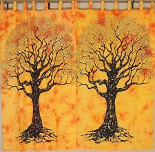 Yellow Tree of Life Curtains - 2 Cotton Printed Window Treatments Panels 82""