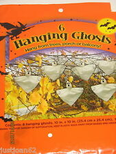 "6 Hanging Ghosts Halloween Tree Decorations 10"" X 10"" Stuff w Paper"