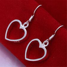 Women Fashion Jewelry 925 Sterling Silver Love Heart Drop Dangle Hook Earrings