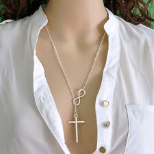 Fine Lady Lucky 8 Infinity Cross Simple Pendant Necklace Wedding Jewelry EY897