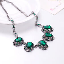 Women Simple Oval Green Crystal Gemstone Statement Bib Chunky Collar Necklace