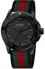 New Gucci G-Timeless YA126229 Black Dial Nylon Strap Men's Watch