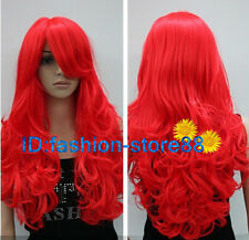 NEW Women Girl Bright Red long curly cosplay full wigs+wig cap