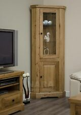Grandeur solid oak furniture glazed corner display cabinet unit