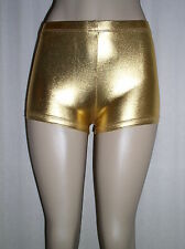 Sexy SHINY GOLD Faux Leather METALLIC Made in USA Derby BOOTY SHORTS - XS S 0 2