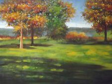 English Countryside Forest Trees Large oil Painting Canvas Landscape Original