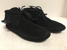 Womens Vtg Classic Minnetonka Black Suede Fringe Ankle Moccasin Bootie Boot 7.5