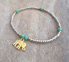 Silver Gold Turquoise Seed Bead Lucky Elephant Surfer Stretch Bracelet