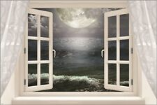 full moon over the ocean WINDOW POSTER spiritual night SYMBOLIC 24X36 new