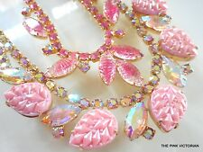 LOT of 2 Vintage PINK Rhinestone choker style Necklaces GIVRE art glass Pn4510