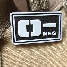 GLOWING  Military Blood Type O- Negative Tactical Army 3D PVC Patch