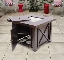 """38"""" Outdoor Patio Square Gas Fireplace Fire Pit Grill Table w/ Cobblestone"""