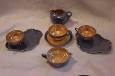 Mixed 8 Piece Lot! Blue & Peach Lustre Luster Ware. Vintage Japan! Chikaramachi