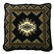SOUTHWEST INDIAN DESIGN WESTERN BLACK GOLD BUTTER TAPESTRY THROW PILLOW 17x17