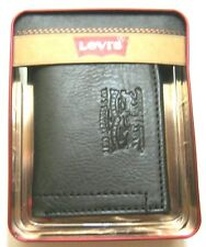 Levi's Mens Trifold Leather Wallet Black 31LV1189 New With Tag NIB
