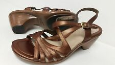 DANSKO Leather Copper Ankle Strap Buckle Strappy Heel Clog Sandals 39 8.5 9 NWOB