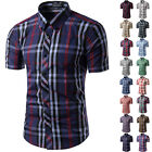 Mens New Casual Dress Shirt Mens Fashion Plaid Short Sleeve Shirts 16 Colors
